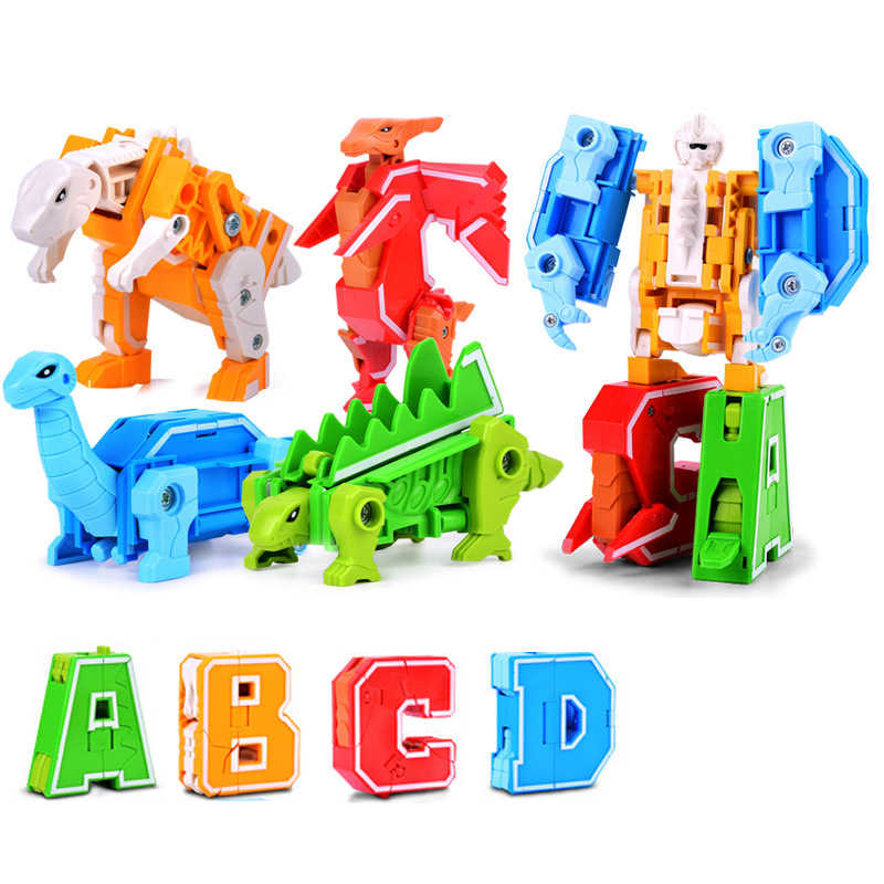 A-Z Transformation Animal toys gift  Dinosaur Building Blocks Alphabet Robot Toys Kids DIY Educational Bricks Toys For Children