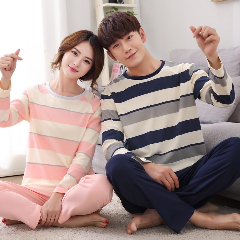 Brand Spring Autumn Couple Cotton Long-Sleeved   Pajamas   Women Sleepwear Men's   Pajamas     Sets   Female Striped Knit   Pajama   Tracksuit