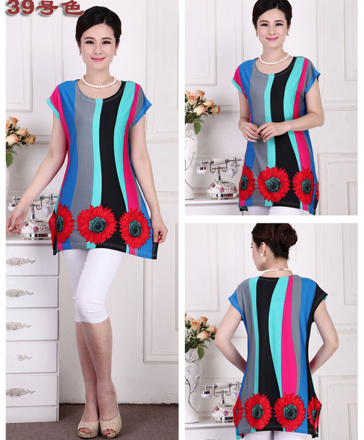 2016 new blusa feminina summer vintage summer print casual women shirts plus size tops kimono camisas tunic L,XL,XXL,3XL,4XL,5XL