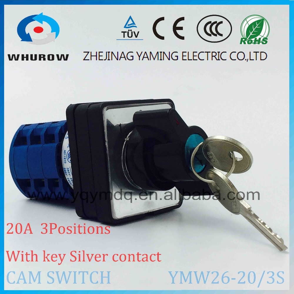 Cam switch LW26-20/3S with key to lock silver contact 20A 690V 3 poles 3 positions 1-0-2 electrical changeover rotary switch