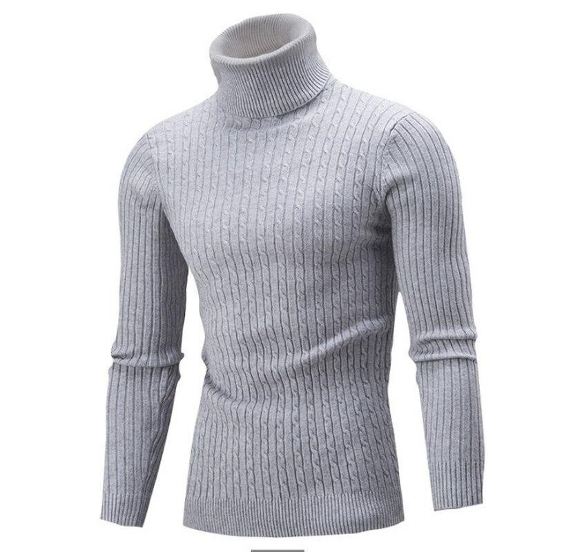 ZOGAA Autumn Winter Men Knitwear Sweater Solid Color Long Sleeve Turtleneck Male Twist Bottoming Warm Sweaters Cardigan Men