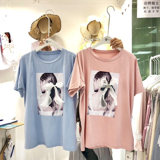 New Korean Ulzzang Printed Decorative Bow Women T Shirts 2018 Summer Casual O Neck Femme Tees Short Sleeve Female Clothing Tops