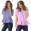 2017 New Women T-shirts Summer O Neck Sexy Striped Short Sleeve Ruffle Hem Shirt Blouse Slim Tops  -MX8