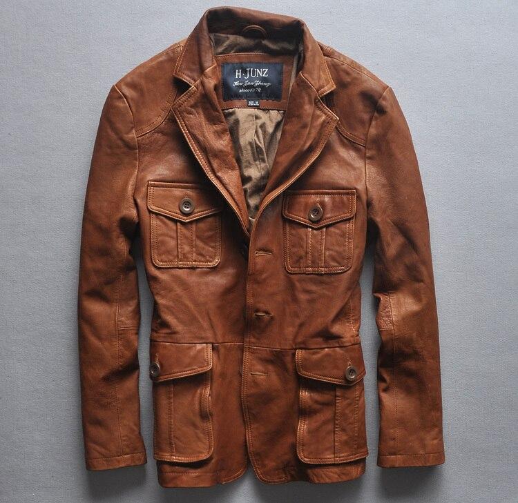2016 Slim Fit Italien Vintage Leder Jacke Männer Vier Taschen Leder Anzug Männer Hohe Qualität Leder Mantel Männer Braun M-xxl