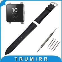 Véritable Bande de Montre En Cuir 24mm pour Sony Smartwatch 2 SW2 inoxydable Boucle Courroie de Poignet Bracelet Noir Brun + Printemps Bar
