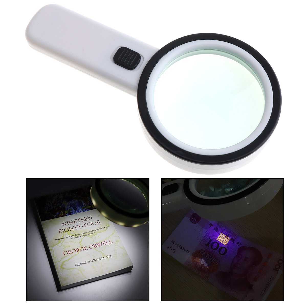 New 90MM 30X Handheld Optical Glass Magnifying with 12 LED Light and UV Light for Antique Appreciate Reading