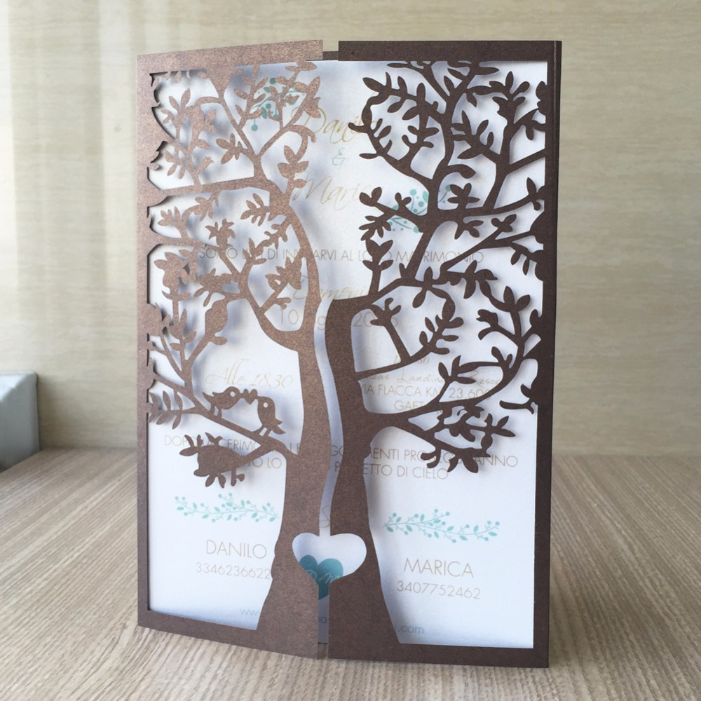 Image 5 - 50pcs Chic Tree Love Heart Birds Design Wedding Invitations Cards Laser Cut Wedding Birthday Decoration Christmas Greeting Cardsgreeting cards birthdaybirthday greetingscard birthday -