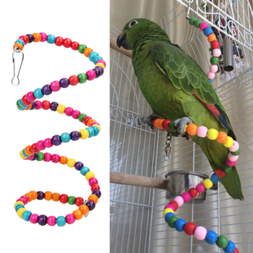 100CM Swing Exercise Rainbow Hamster Parrot Parakeet Toy Wooden Bird Ladder Pet Toy bead