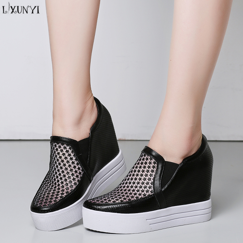 LXUNYI 2018 New Loafers Women Genuine Leather Height Increasing Black White Pink Shoes Slip on Round Toe Ladies Casual Shoes