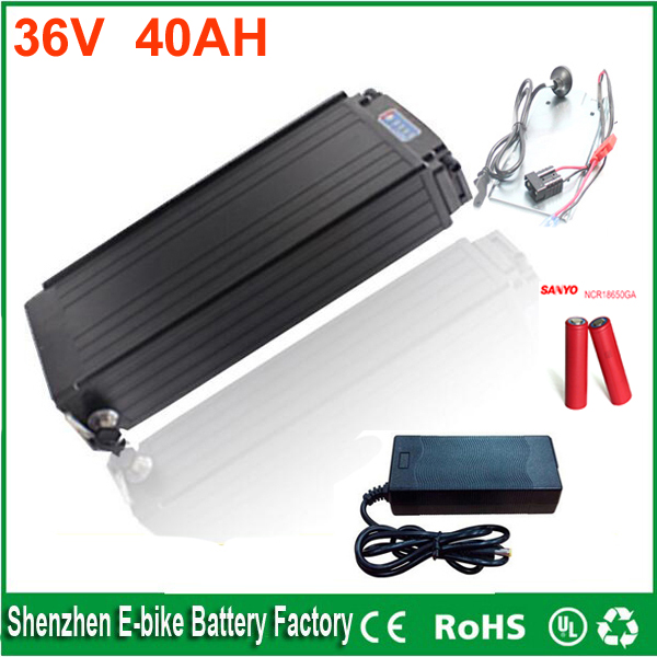 Rear rack 36v 1000w lithium battery 36v 40ah ebike battery with BMS charger and Power lights and Tail lights For Sanyo cell free customs taxes super power 1000w 48v li ion battery pack with 30a bms 48v 15ah lithium battery pack for panasonic cell