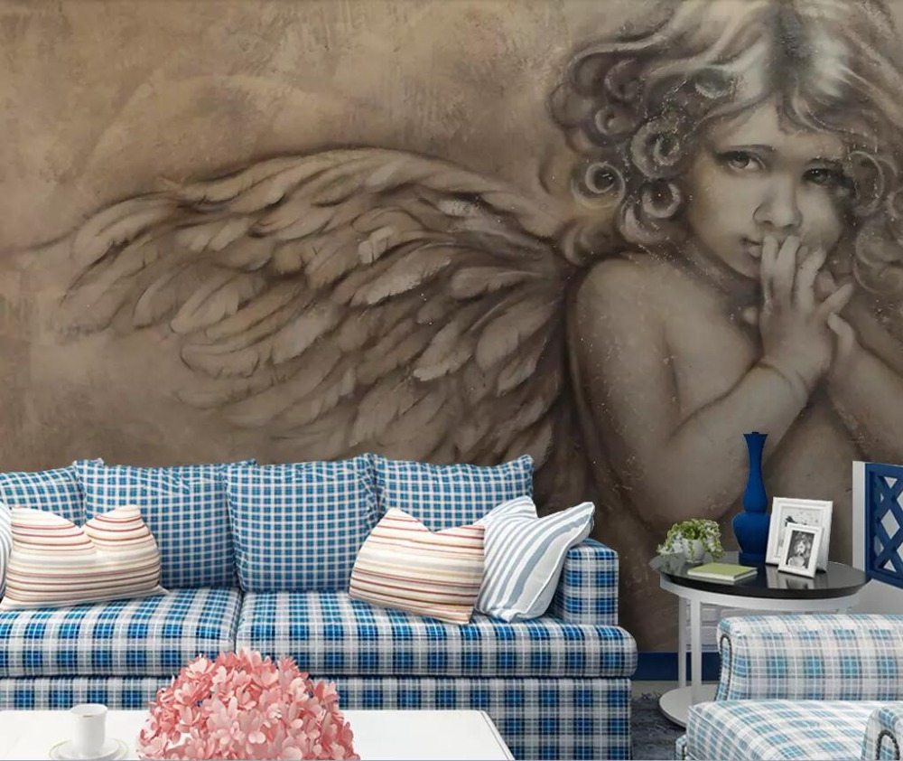 European 3D Relief Angel Background Wall Painting