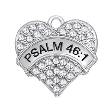 my shape 5pcs Zinc Alloy Rhodium Plated Inspirational Bible Psalm 46:1 Clear Crystal Heart Pendant Charm