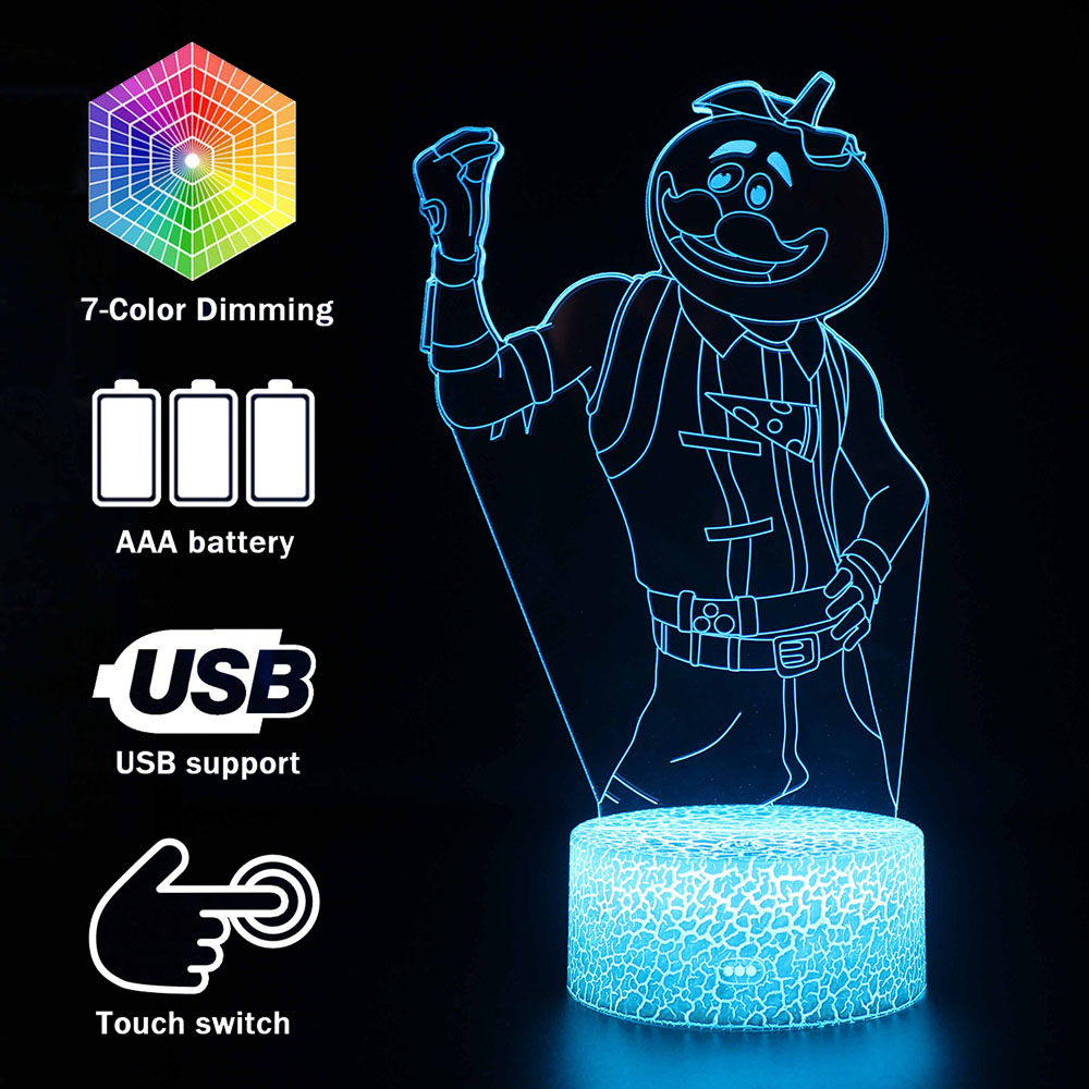 Magiclux Novelty Lighting 3D Illusion LED Lamp Fortress Night Tomato Man Night Lights Kids Bedroom Decoration Creative Lamps