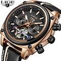Мужские часы LIGE  модные автоматические механические часы с кожаным ремешком  водонепроницаемые  спортивные