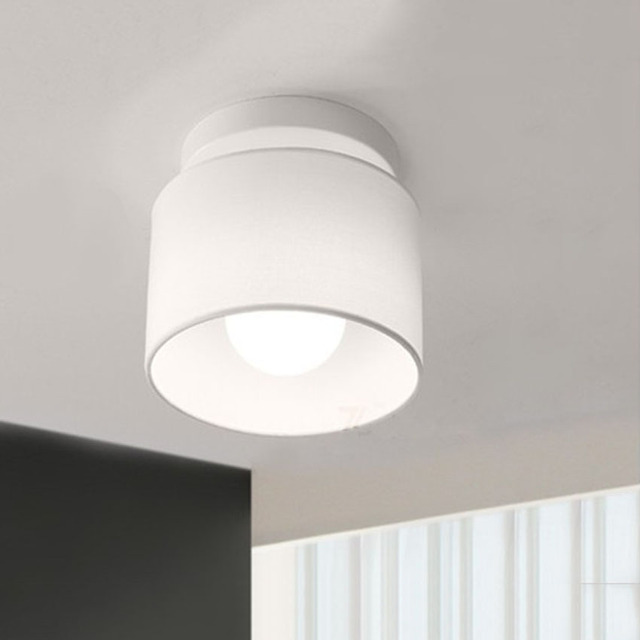 Modern Led Ceiling Lights Home Lighting Dia 18cm Cloth Lamp Shade Simple For Bedroom Plafoniera Light Fixture