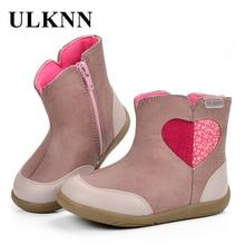 ULKNN Girls Boots Kids Winter Boots Children Spring Autumn Cute Love Hart Pattern Pink Zipper Handmade Sewing Felt bota menina