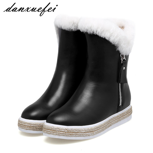 Women Platform Ankle Boots Waterproof Fur Slip On Short Wedge Booties