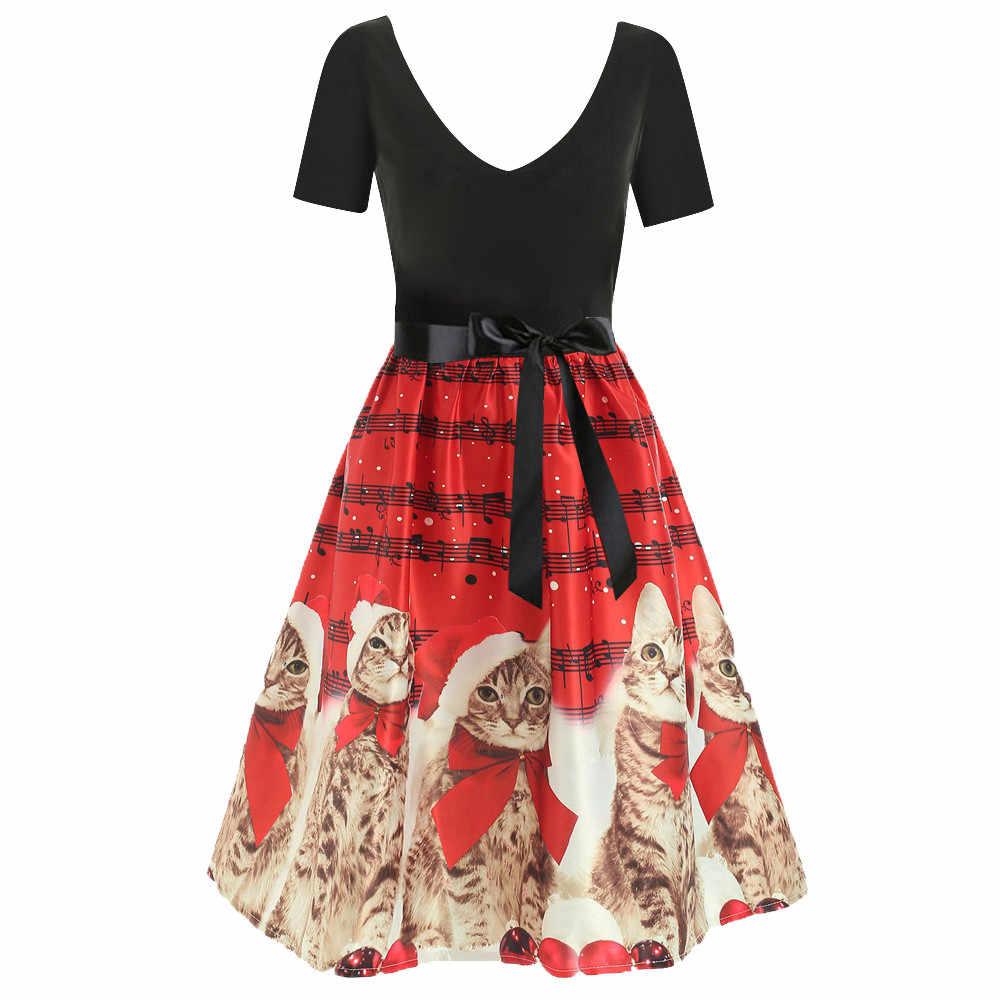JAYCOSIN Women Short Sleeve Christmas Cat Musical Notes Print Vintage Flare Dress Empire sexy Knee-Length fashion dresses May 20