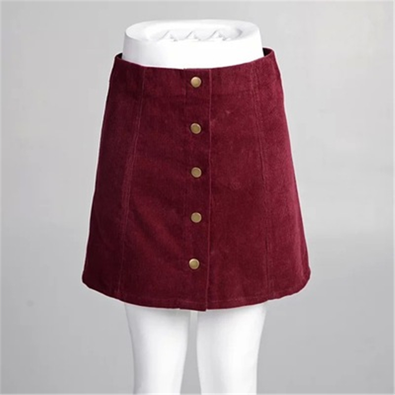Summer Front-breasted Corduroy Skirt Casual Big Size Women's A-line Skirt High Waist Bag Hip Skirt Large Size Female Skirt J873