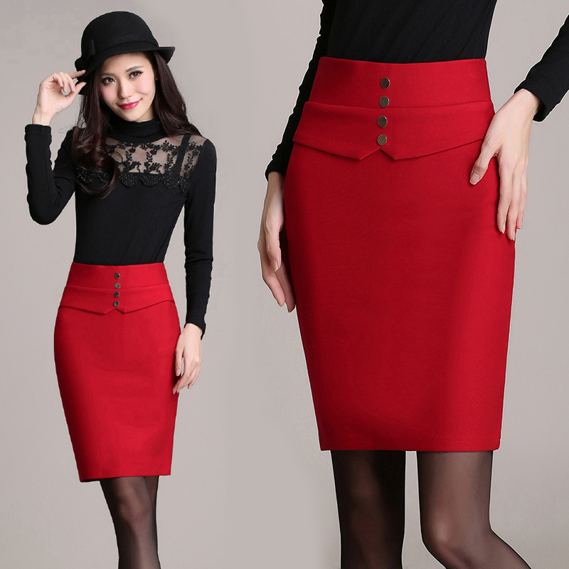Aliexpress.com : Buy Women's Red Pencil Skirt Tight Autumn Winter ...
