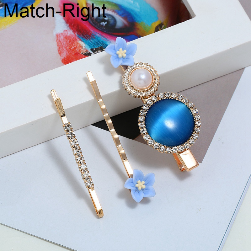 Match-Right 3Pcs/Set Pearl Metal Hair Clip Barrette Comb Bobby Pin Hairband Hairpin Headdress Styling Hair Accessories KK305