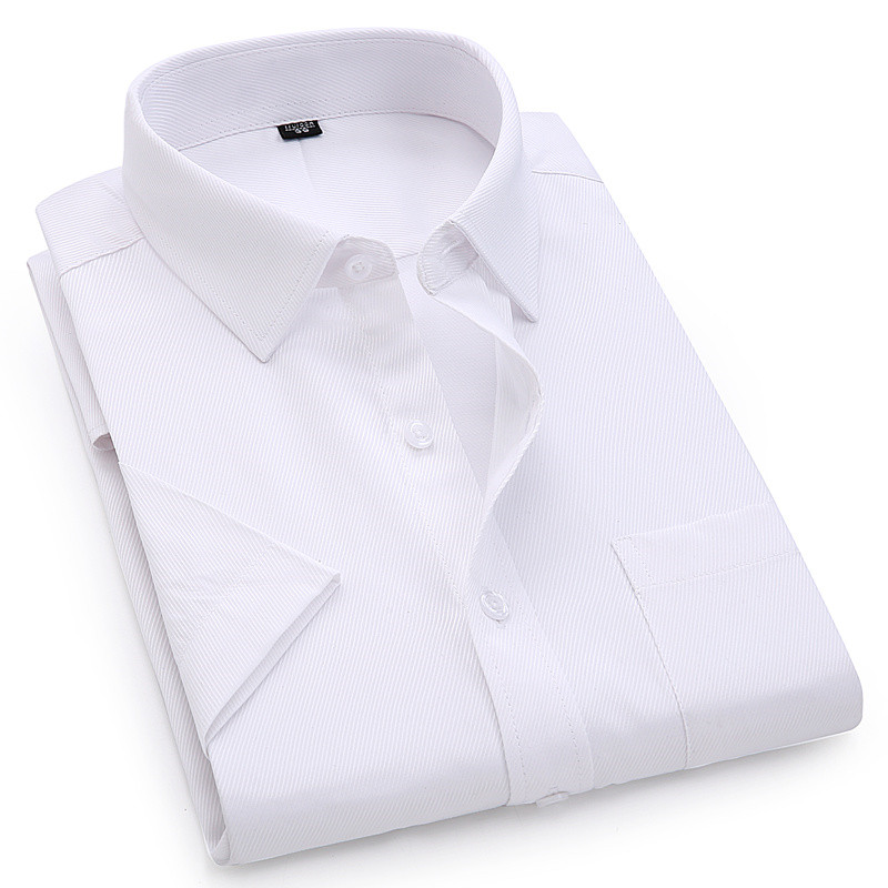 2019 Men's Dress Casual Short Sleeved Shirt Twill White Blue Pink Male Shirt For Men Social Brand Shirts 4XL 5XL 6XL 8XL