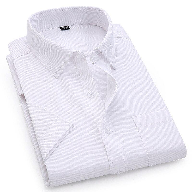 Мужская рубашка с коротким рукавом, белая, синяя, розовая, 4XL, 5XL, 6XL, 8XL, 2020 Классические      АлиЭкспресс