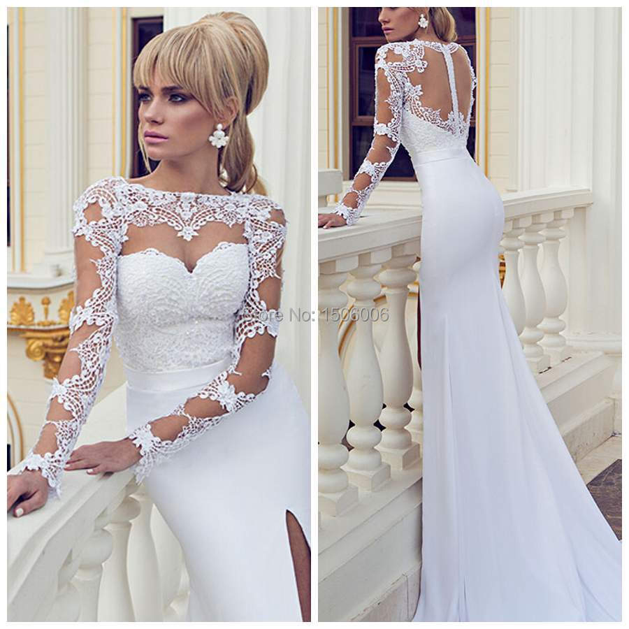 Front Sheer Full Sleeves Wedding Gowns Autumn 2016 See Through Back Exquisite New Arrvial Dress Custom Made Szj009 In Dresses From