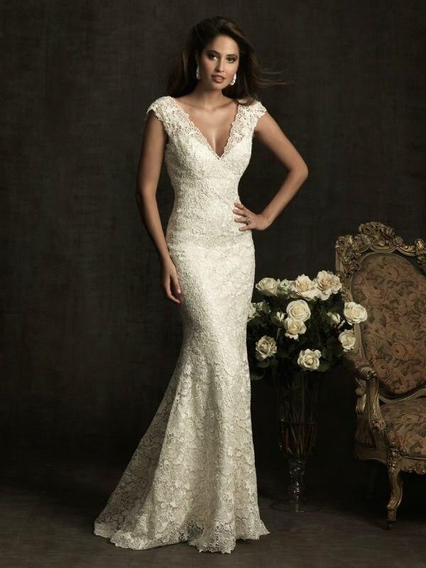 Vintage Lace Wedding Dress Beige Mermaid Dress Bride Cap Sleeve ...