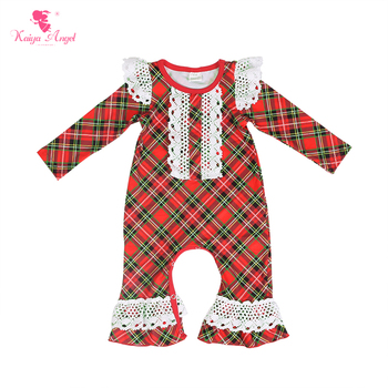 Kaiya Angel Hot Sale Baby Girls Clothes Fashion Plaid Print Long Sleeved Newborn Romper Spring Autumn Style Toddler Jumpsuit