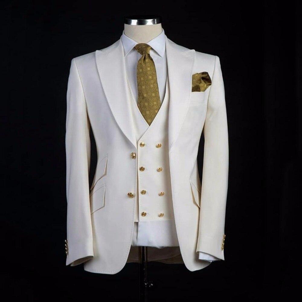 New Arrival Groomsmen Ivory Groom Tuxedos Peak Lapel Men Suits Wedding Best Man Blazer ( Jacket+Pants+Vest+Tie ) C459