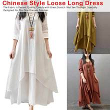2019 New Women Summer Cotton Linen Long Maxi Dress Sleeve O-neck Chinese Style Loose Beach