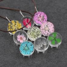 Mori girl love Harajuku handmade real natural DIY Dried Flower peach/clover/dandelion glass ball Pendant leather chain necklace