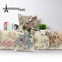 Fundas de almohada de flores cojines Retro Decoración del hogar funda de cojín 45X45 Cm estampado de plantas Kissen Decoración sofá cama para coche almohada