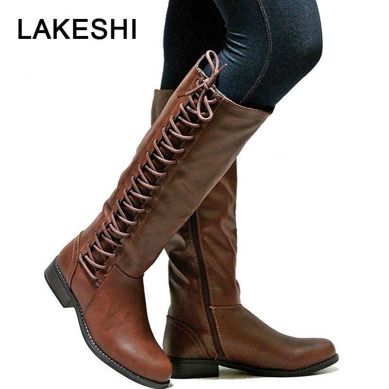LAKESHI Brand Women Winter Snow Boots Ladies Shoes Autumn Winter Warm Riding Boots Lace Up Flat Square Motorcycle Leather Boots