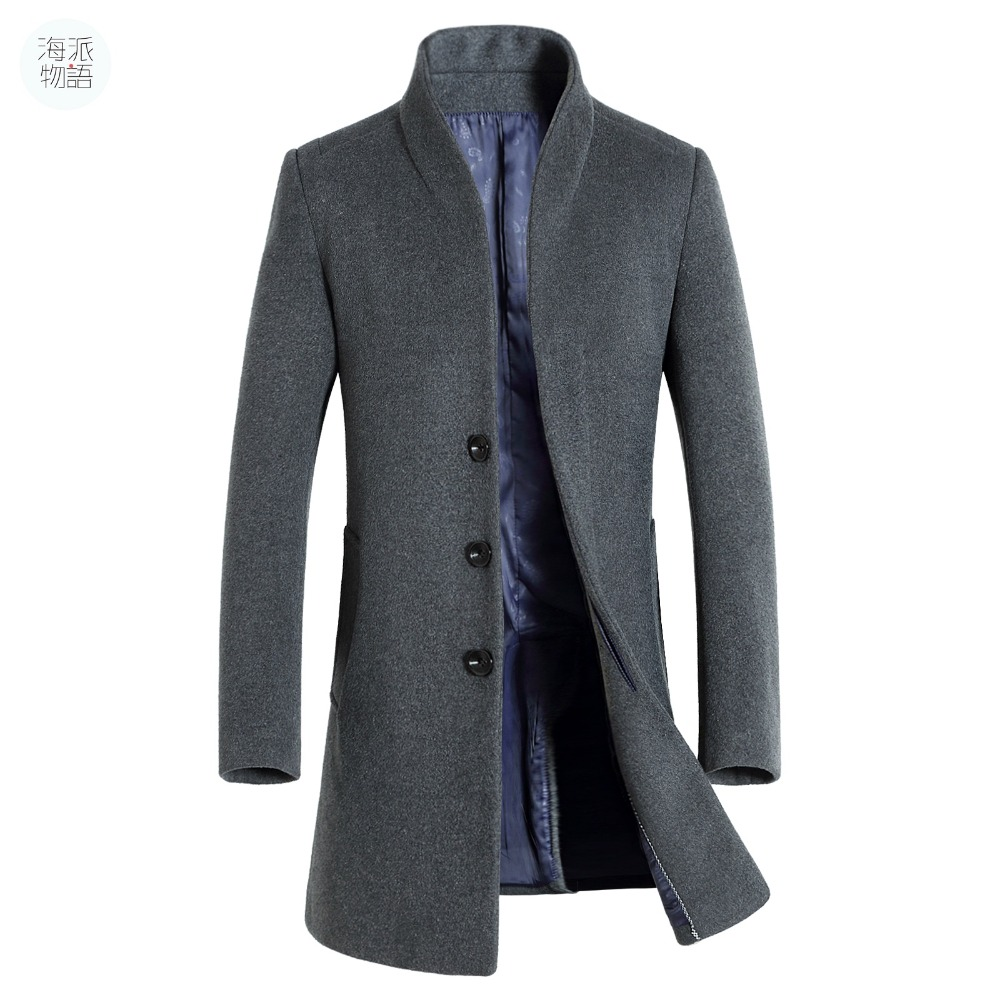 Shanghai Story long coat mens trench coat wool coat fashion buckle ...