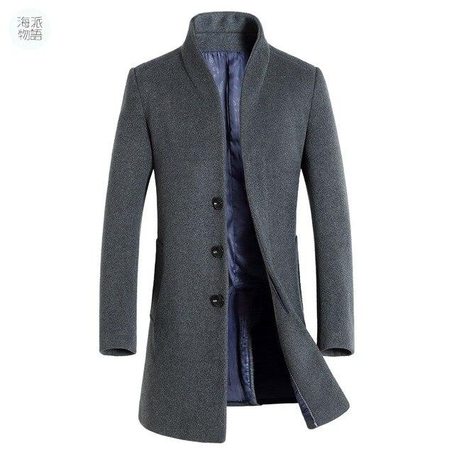 Winterjas Heren Trenchcoat.Shanghai Verhaal Lange Jas Heren Trenchcoat Wollen Jas Mode Gesp
