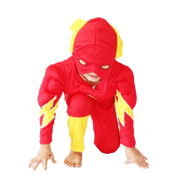 3 7 years party kids comic marvel flashbarry allen muscle halloween costume kid flash boy roll play clothing sizes xxl