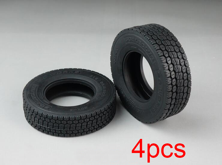 4 Pcs Tires All Terrain Wide/Narrow Rubber Tyre Spare Parts For Tamiya 1/14 Tractor/Dump Truck Model image