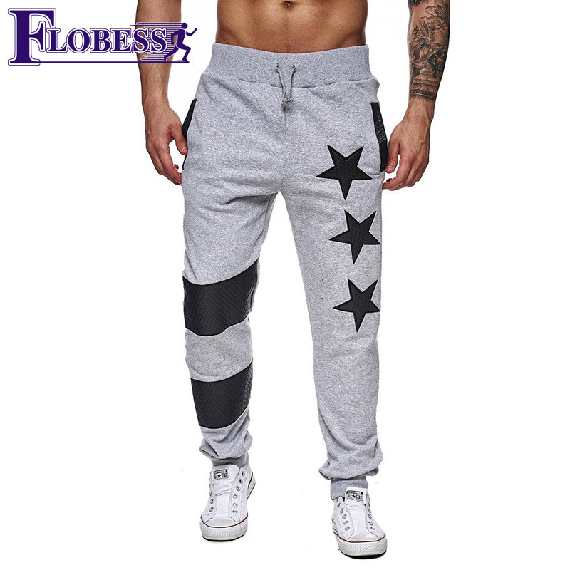 FLOBESS 2018 Mens Leisure Sports Pants Spliced Patchwork Pants Men Joggers Running Workout Training Sweatpants Sportswear