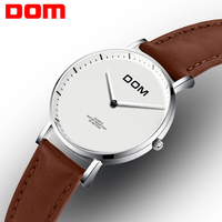DOM Luxury Brand Watches Waterproof Style Leather Gold Skeleton Quartz Watch Women G 1031
