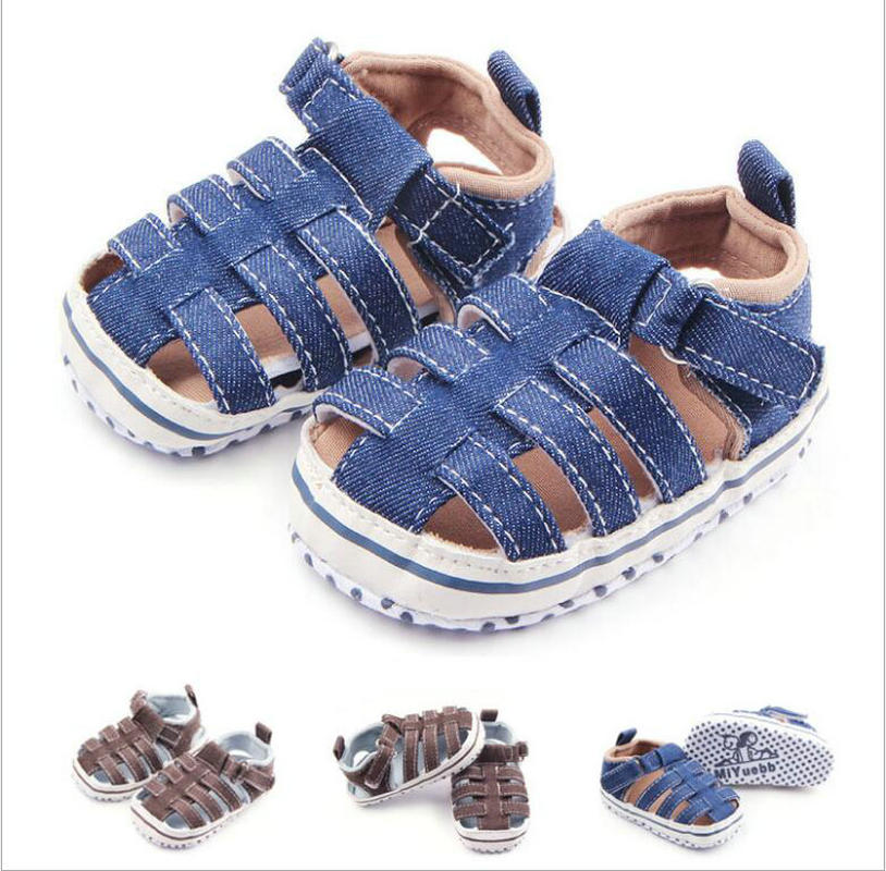 Summer Denim Fabric Baby Boy Shoes Newborn First Walkers Shoes Infant Toddler Soft Soled  Anti-slip Baby  Shoes For Wholesale