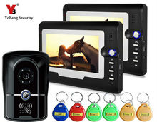 Yobang Security 7″ Video Door Phone Intercom System Waterproof RFID Keypad IR Camera Home Security Intercom Kits With 2 Monitors