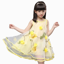 2017 Summer Clothes for Teen Girls Baby Kids 3D Flower Party Dress  Children's Gown Dress For Age 3 4 5 6 7 8 9 10 11 12 Years недорого