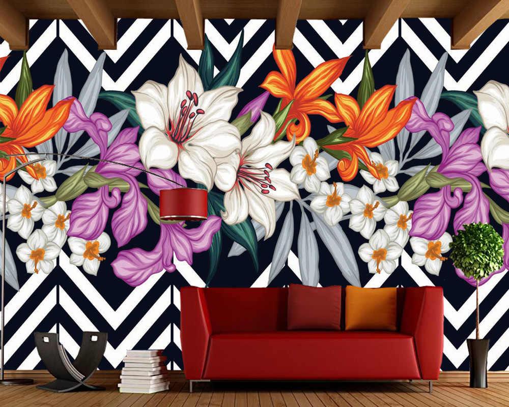 Custom Floral Wallpaper Black And White Stripes Flower Mural For