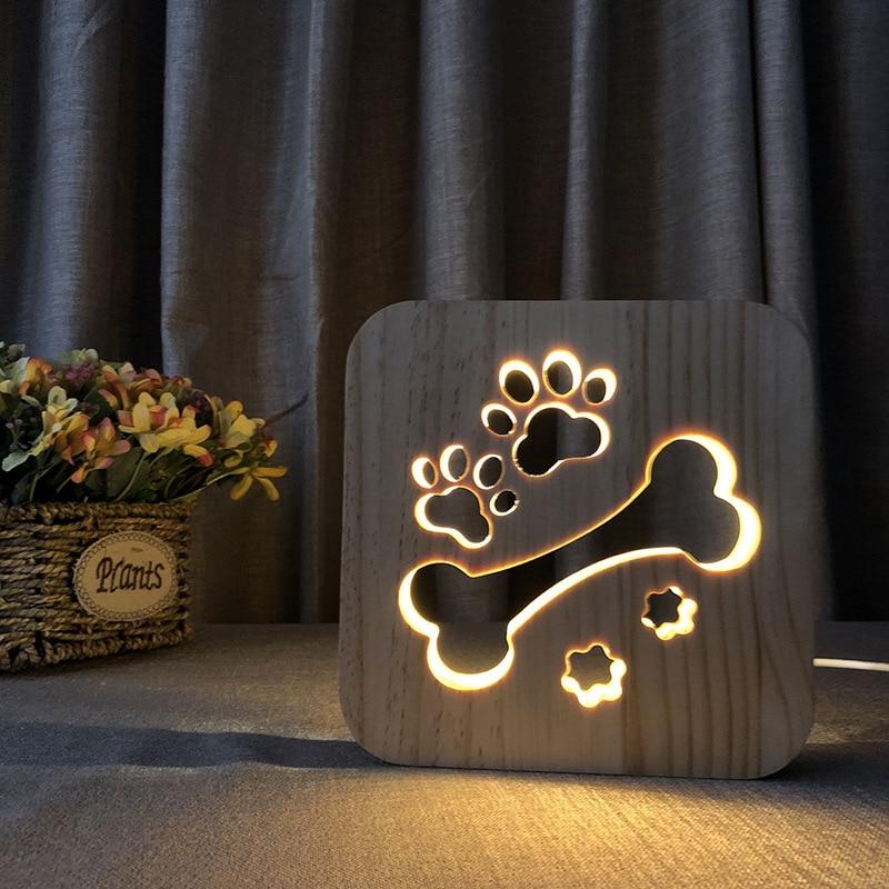 HJYVIOTIN Cute Dog Bone Paw LED USB Lamp Wood Carving Table Lamps Kids Night Lights for Bedside Bedroom Decoration Gift Lighting