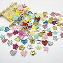 Pacotes apliques de coroa/lacinhos/coração, decoração de artesanato faça você mesmo, acessórios de roupa de cabeça para crianças, lantejoulas, 100 peças