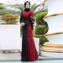 2017 Elegant Muslim Evening Dresses High Neck Long Sleeves Beads Black and Red Lace Party Robe De Soiree with hijab Custom