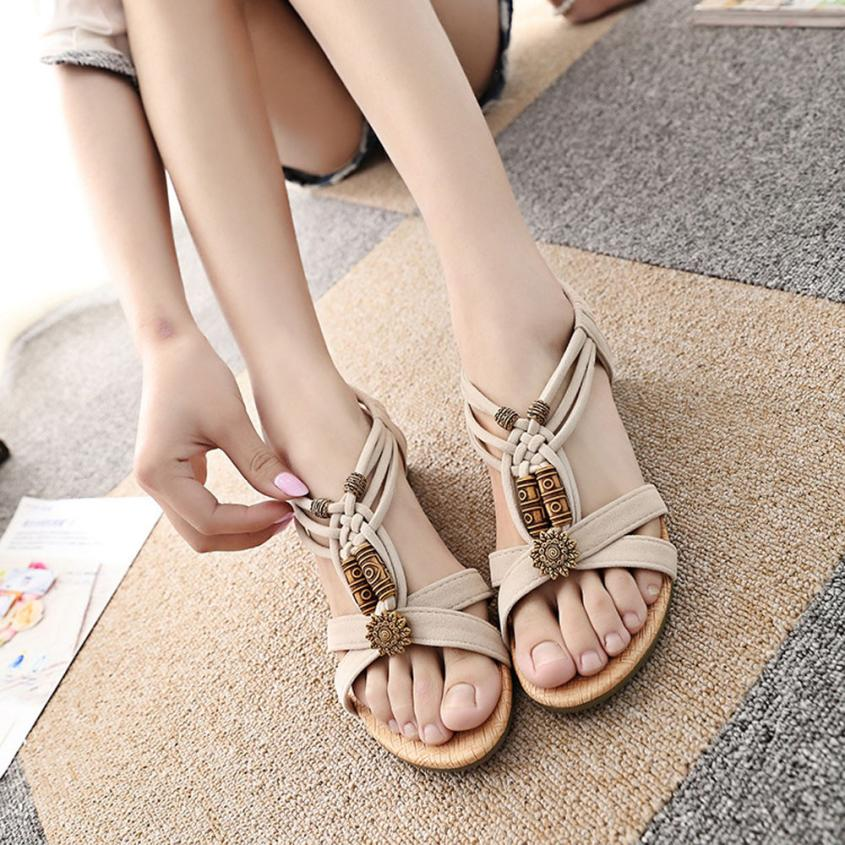 shoes YOUYEDIAN woman sandals Women's Casual Peep-toe Flat Buckle Shoes Roman Summer Sandals sommer schuhe damen sandalias mujer