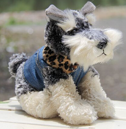 Candice guo plush toy stuffed doll cute little simulation dressing cowboy Schnauzer dog puppy children birthday gift christmas 30cm plush toy stuffed toy high quality goofy dog goofy toy lovey cute doll gift for children free shipping
